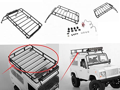 Part & Accessories 1/10 SCX10 II Metal Cage Roof Luggage Tray w/Light Bar for Defender D90