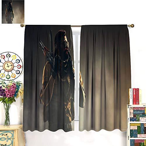 Csgo - Global Offensive Focus Art Cortinas de microfibra de edición limitada 183 x 160 cm, panel y kit de encaje, bolsillo para barra de cortina para dormitorio/sala de estar