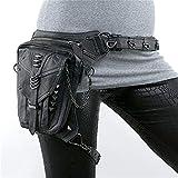 ZRDY Riñonera de Mujer Riñoneras góticas Bolso de Pierna de Cadera de Motocicleta Bolso de Hombro de pistolera Steampunk Hombres Bolsos de Cuero de PU Durable (Color : Black)