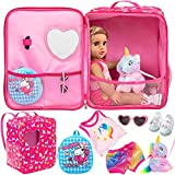 K.T. Fancy 5 Pcs 18 Inch Doll Bag and Clothes and Accessories Unicorns Doll Travel Bag Suitcase for American 18 Inch Girl Doll Accessories with Multi-Pocket