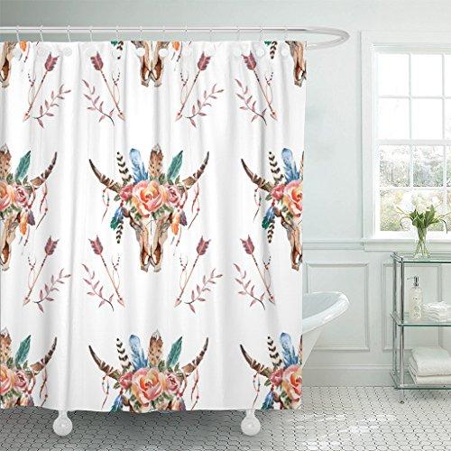 VaryHome Duschvorhang, abstraktes Aquarell, Boho-Totenkopf mit Federn, Blumen, amerikanisches wasserdichtes Polyester-Stoff-Set mit Haken, Polyester-Mischgewebe, rot, 72 x 72 inches