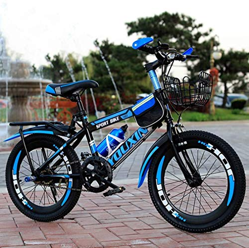 HCMNME Durable Bicycle Mountain Bike for Kids, Steel Frame Single Speed Kids Bike for 6-12 Years Old Boys Girls, Pupils Mountain Bicycle with Kettle and Back Seat & Basket,Blue,22inch Alloy fram