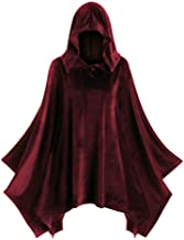 TWGONE Hooded Cloak Poncho Hollween Costume Womens Solid Vintage Matching Cape Coat