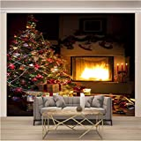 JKM Wallpaper 3D No Tejido Cartel De Pared Autoadhesivo Mural Tamaño Múltiple Navidad Árbol De Navidad Arco De Fuego Mural Fotomural Papel Pintado Fondo De Pantalla Personalizado Hd Exquisito Tv Fondo