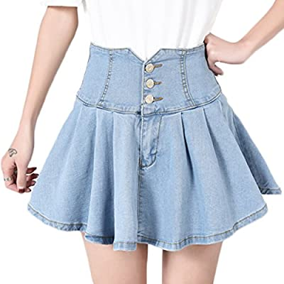 Chartou Womens Ladies Stylish Chic Elastic High Waist Lined Layers Pleated Buttons Denim Skater Skirts