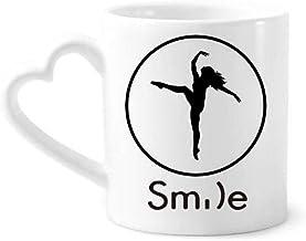 cold master DIY lab Dance Sports Dancer Performance Art Smile Pattern Mug Cup Pottery Heart Handle