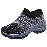 Zapatos Deporte Mujer Zapatillas Deportivas Correr Gimnasio Casual Zapatos para Caminar Mesh Running Transpirable Aumentar Más Altos Sneakers Negro Gris Morado Rojo 35-44 Gris 39