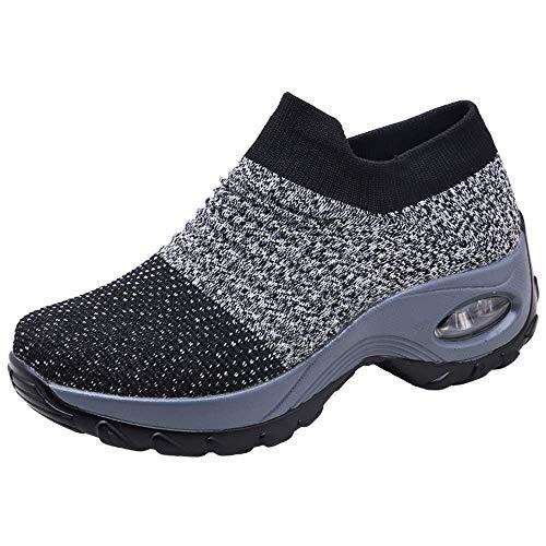 Zapatos Deporte Mujer Zapatillas Deportivas Correr Gimnasio Casual Zapatos para Caminar Mesh Running Transpirable Aumentar Más Altos Sneakers Negro Gris Morado Rojo 35-44 Gris 40