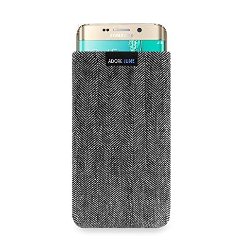 Adore June Business Tasche für Samsung Galaxy S6 Edge+ Handytasche aus charakteristischem Fischgrat Stoff - Grau/Schwarz | Schutztasche Zubehör mit Bildschirm Reinigungs-Effekt | Made in Europe