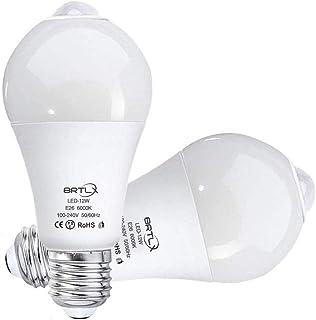 BRTLX 改良版LED電球 人感センサー付 E26口金 12W 60W形相当 6000k 2個パック 自動点灯 消灯 昼白色 広配光タイプ 室内センサーライト