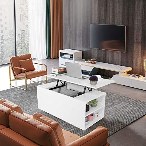 Dioche Mesa de centro elevable con estante, estante y mesa de café grande, altura de elevación de 12 cm, para casa o salón, 100 x 50 x 57 cm