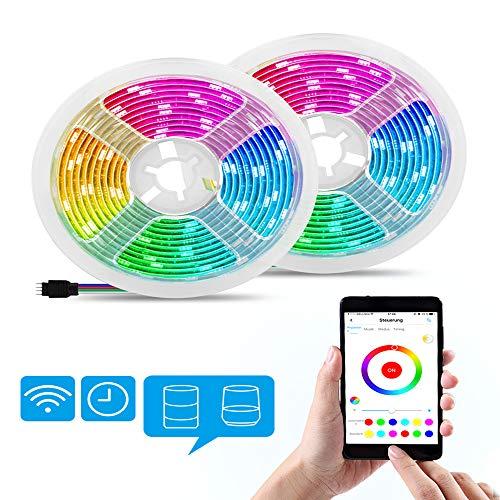 Alexa LED Strip, 10M WiFi RGB LED Streifen,APP Steuerbar Musik LED Lichtband Lichterkette für Haus, TV, Party, Weihnachten Halloween Dekoration, kompatibel mit Alexa, Google Home
