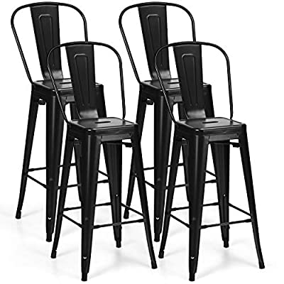COSTWAY Metal Bar stools Set of 4, with Removable Back, Cafe Side Chairs with Rubber Feet, Stylish and Modern Chairs, for Kitchen, Dining Rooms, and Side Bar (Black-Update, 30'') - 💺【Sturdy Metal Construction:】Using high grade metal base, this dining chair is strong and heavy-duty enough to support up to 330lbs and durable for long-lasting time. This advantage makes it a great chair for indoor use. In addition, each metal chair has a cross brace under the seat that provides additional support and stability. 💺【Stackable Design for Space-Saving:】 These chairs are lightweight and easily stack for storing. Featuring stackable design, this set of 4 dining chairs can be stored quickly and easily just put one on another. And feet pads design not only prevents scratching the floor, but also provides addition support and stability. 💺【Humanized Seat and Backrest:】The perfect seat made of strong and durable metal steel that enjoying moisture proof and not easily deformed. And there is a hole on the surface of seat that could help ventilate, and additional backrests ensure you could enjoy your delicious meals and conversation leisurely. - kitchen-dining-room-furniture, kitchen-dining-room, kitchen-dining-room-chairs - 51J7PVy mCL. SS400  -