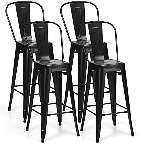 COSTWAY Metal Bar stools Set of 4, with Removable Back, Cafe Side Chairs with Rubber Feet, Stylish and Modern Chairs, for Kitchen, Dining Rooms, and Side Bar (Black-Update, 30'')