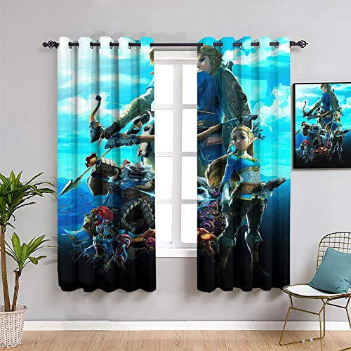 Zelda Breath of the Wild - Cortina impermeable con ojales (84 x 84 pulgadas)