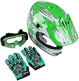 TCT-MT DOT Helmet +Goggles+Gloves Youth Kids Green Flame Dirt Bike Helmet ATV Motocross Offroad Helmets+Goggles+Gloves (Medium)
