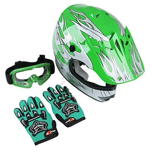 TCT-MT DOT Helmet +Goggles+Gloves Youth Kids Green Flame Dirt Bike Helmet ATV Motocross Offroad Helmets+Goggles+Gloves (Medium)