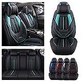 Juego completo de fundas de asiento de coche de lujo para UDI TT, funda de cojín de piel sintética para vehículo, protectores impermeables compatibles con airbag (negro verde)