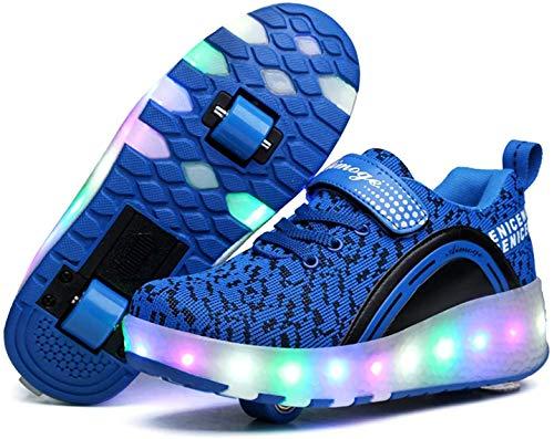 qmj Rollschuhe Schuhe MitRollen Mädchen Jungen RollerSchuhe Rollschuhe Kinder Radschuhe Rollschuhe Sneakers Schuhe Mit Doppelrädern Für Kinder LED-Licht,Blue Double Wheels-3 UK