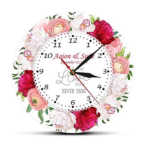 Fryymq (12 Zoll mit LED ohne Rahmen) AcryldruckReal Love Story Benutzerdefinierter Name Hochzeitsdatum Wanduhr Jubiläum Blumenwanduhr Hochzeitsgeschenk
