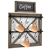 Autumn Alley Rustic Barn Door Wall Mounted Mug Rack with Blackboard for Coffee Sign Decor - Farmhouse Kitchen Decor - Holds 8 Mugs