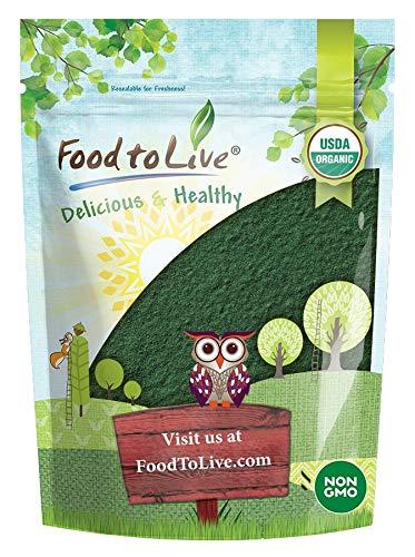 Organic Spirulina Powder, 1 Pound — Non-GMO, Kosher, Raw Blue-Green Algae, Vegan Superfood, Bulk, Non-Irradiated, Pure Vegan Green Protein, Rich in Vitamins and Minerals, Great for Drinks