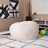 EMMA + OLIVER Oversized White Furry Bean Bag Chair for Kids and Adults