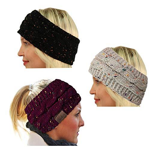 CRIVERS 3-teiliges Confetti Stirnband mit Zopfmuster, Stirnband, Ohrenwärmer Gr. 38, Beige, schwarz, weinrot