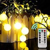 EUKO Guirnalda luces exterior 10 m 100 LEDs impermeable Cadena de luces 8 Modos con Control Remoto...