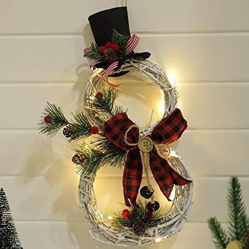 Weihnachten Schneemann Kranz Künstlicher Kranz Weihnachten Christmas Hanging Decoration Girlande mit Rattan Hüte Beeren Bowknot Led Lichterketten für Weihnachten Dekor Party Geschen Kränze Schwarz+Rot