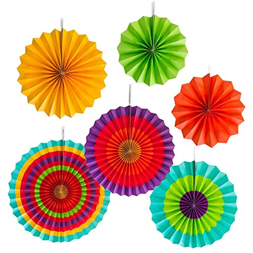 Super Z Outlet Fiesta Colorful Paper Fans Round Wheel Disc Southwestern Pattern Design for Party, Event, Home Decoration (Southwestern)