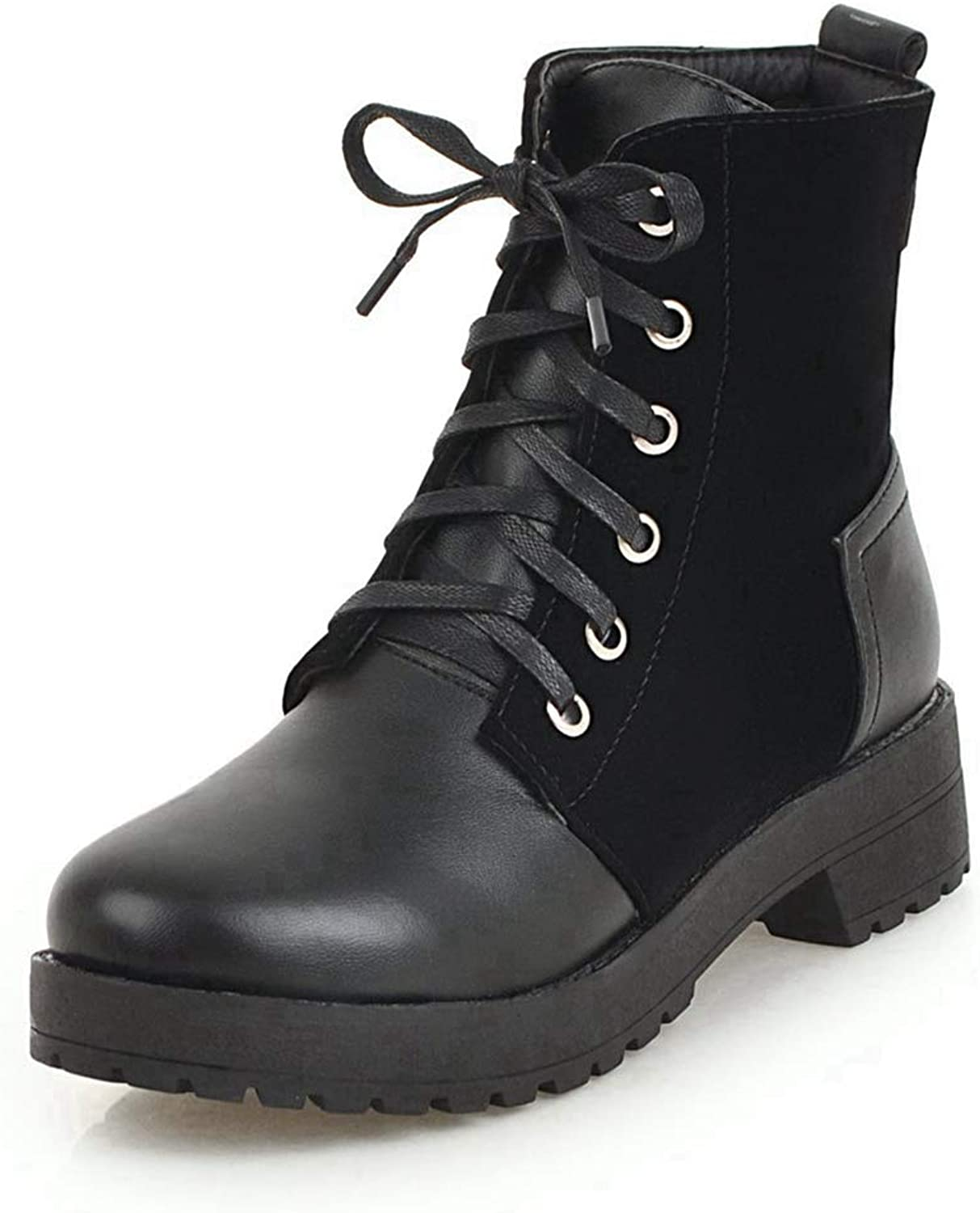CYBLING Womens Round Toe Lace Up Platform Combat Chunky Heel Martin Boots Zipper Ankle Boots