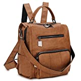Women Backpack Purse,RAVUO PU Leather Mini Backpack Fashion Shoulder Bag for Ladies Three Ways to Carry (Brown)