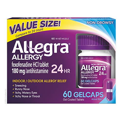 Allegra Allergy 24 Hour Gelcaps 180 mg 60 Count Long-Lasting Fast-Acting Antihistamine for Noticeable Relief from Indoor and Outdoor Allergy Symptoms