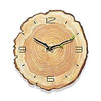 PYBHR リビングルームの装飾木目クォーツ現代耐久ミュート実行するバッテリーは、実用的な壁掛け時計のシンプルな年輪を運営しました (色 : Annual Ring 12 Words)
