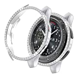 Yolovie Compatible with Samsung Galaxy Watch 42mm Case, Bling Crystal Rhinestone Bumper Shell Plated PC Protective Face Cover Shiny Diamond Cases Women Girl (42mm Silver)