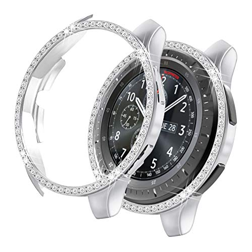 Yolovie Compatible with Samsung Galaxy Watch 46mm Case, Gear S3 Frontier Case (NOT fit for SM-R770) Bling Crystal Rhinestone Bumper Shell Protective Cover Shiny Diamond Cases Women Girl (46mm Silver)