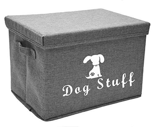 Morezi Große Aufbewahrungsbox für Hundespielzeug, 38,1 x 25,4 cm, Leinen, Aufbewahrungskorb mit Deckel – Perfekter zusammenklappbarer Mülleimer für die Organisation von Hundespielzeug und Zubehör