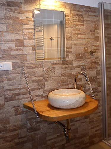 NT Madera Diseño Tino kittner lavabo estilo rústico, madera con piedra natural de Incluye set de montaje