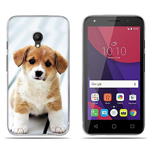 Fubaoda Alcatel PIXI 4 Hülle,[Chiwan Welpe] Anti-Dropping PC Handy-Tasche Back-Cover Ultra Slim weich Silikon Transparent Designs Schutzhülle für Alcatel PIXI 4(5.0)