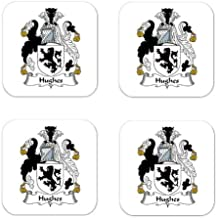 MyHeritageWear.com Hughes Wales Family Crest Square Coasters Coat of Arms Coasters - Set of 4