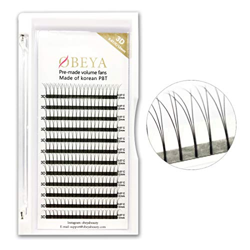 3D Russian Lashes 0.07mm .07 mm C Curl Volume Eye Lashes 12mm Length Cluster Individual Eye lashes Extensions Premade Volume Fans For Professional Salon by Obeya