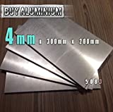 Placa de aluminio de 4 mm, grado 5083, 300mm x 200mm, 1