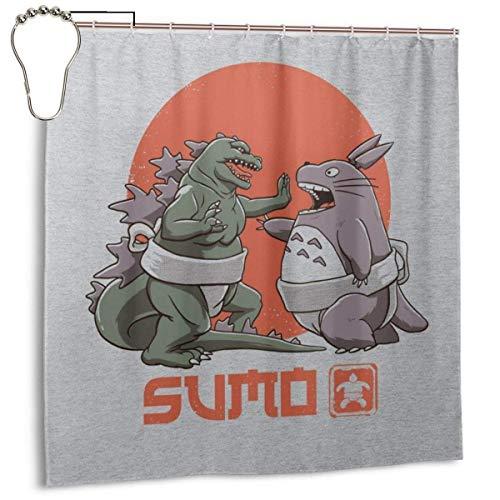 qinhanxinchengxianlibaihuodian Wasserdichter Duschvorhang aus Polyestergewebe Godzilla Totoro Sumo Pop Print Dekorativer Badezimmervorhang mit Haken, 72 '' x 72