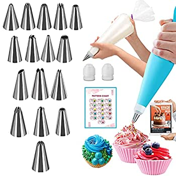 RFAQK 30PCs Icing Piping Bags and Tips Set-16 Numbered Piping Tips and 10 Pastry bags with Pattern Chart and EBook- Frosting Tips and Bags-Cupcake Cookie Decorating Tips Supplies Kit and Baking tools