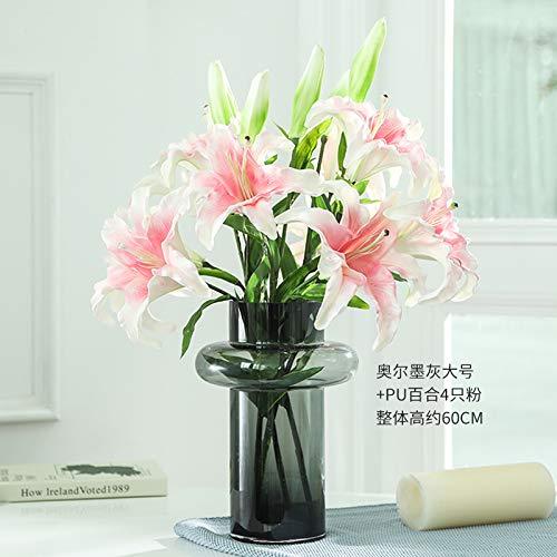 GANHUA Feel film bos parfum lelie kunstmatige bloem bruiloft vloer bloem nep bloem vaas bloem arrangement indoor decoratie bloem PU Lily 4 Powder + Orr Grey Large