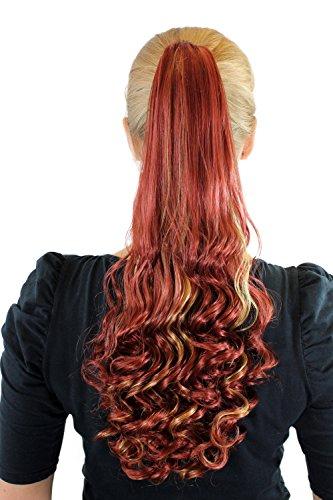 Perruque/tresse/couette, de couleur rousse/blonde mélangées env. 50cm, pointes bouclées SC-29-350H25