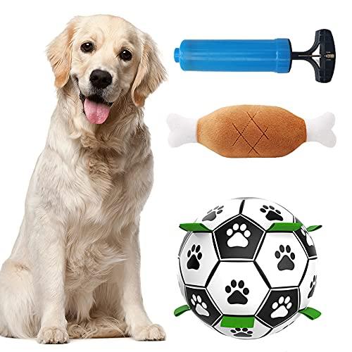 MEISHANG Hund Fußball,Interaktives Hundeball,Hundespielzeug Ball,Naturkautschuk Hundespielball,Hund Interaktiver Schwimmender Ball,Interaktiver Schwimmender Ball