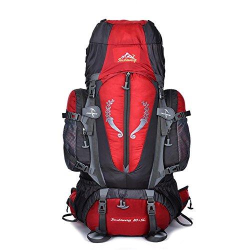 85L léger randonnée sac à dos en nylon imperméable multifonction ultra grande capacité portable sac à dos pour camper en voyage d'alpinisme équitation avec couverture de pluie H86 x L36 x T23 cm , red