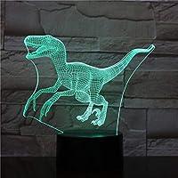 3Dイリュージョンナイトライト 恐竜の動物 スマートタッチ キッズおもちゃナイトライト3Dオプティカルイリュージョンナイトランプスマートタッチ+7色変更調光可能、誕生日プレゼント男の子クリスマス女の子